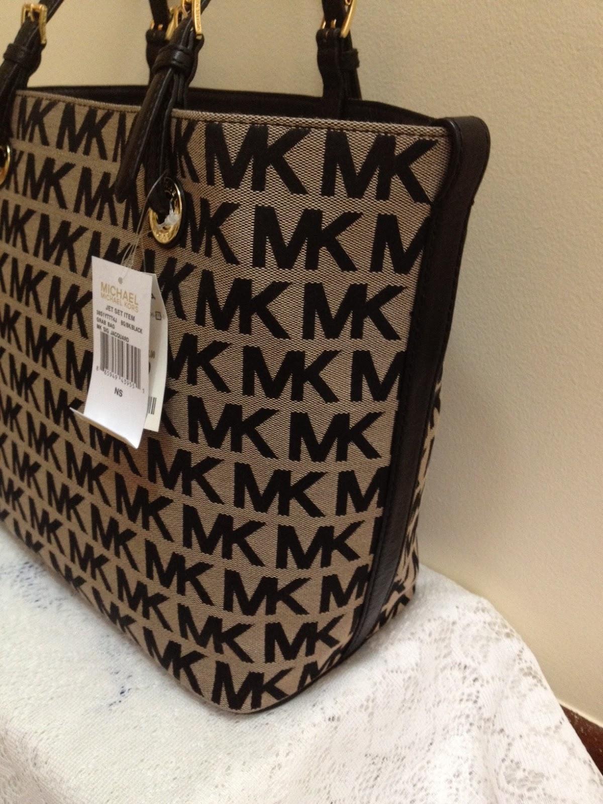 Jacquard Fabric Trim Leather Michael Kors Bag Double Handles With 8 Drop Mk Logo Circle Charm 2 Open Side Pockets