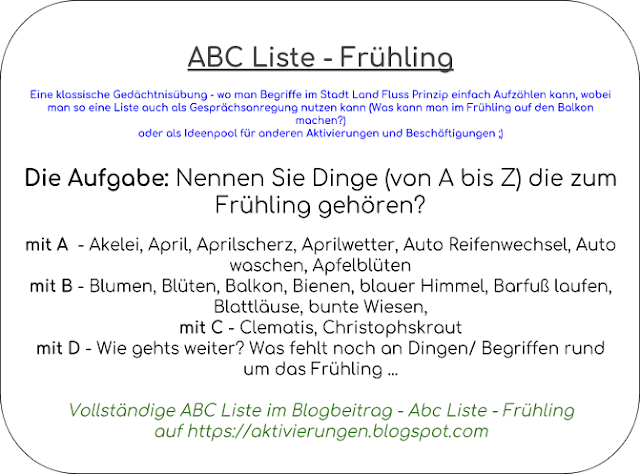 Lenz Dinge, Begriffe Frühjahr, A bis Z Frühling, Aktivierung Frühling, Seniorenarbeit, Betreuung