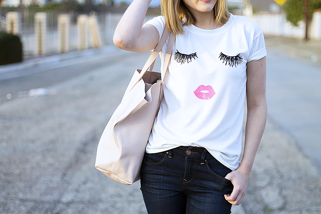 Lashes and Lips Tee Shirt with The Limited Skinny Jeans and Cuyana Tote