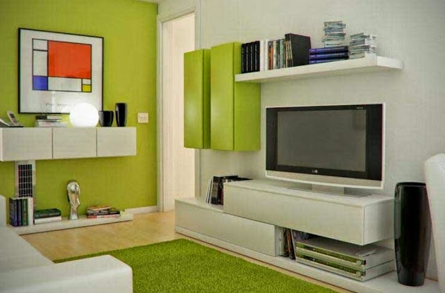 Ruang Tv Minimalis Hijau