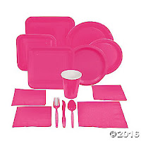 hot pink paper party supplies