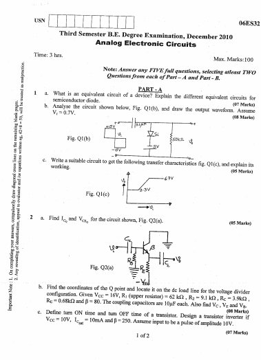 Vtu 06es32 Analog Electronic Circuits Dec 2010 Question