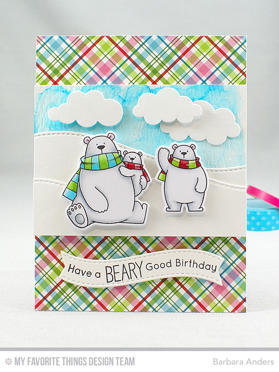 Handmade card from Barbara Anders featuring Birdie Brown Polar Bear Pals stamp set and Die-namics, Stitched Snow Drifts, Puffy Clouds, and Blueprints 25 Die-namics #mftstamps