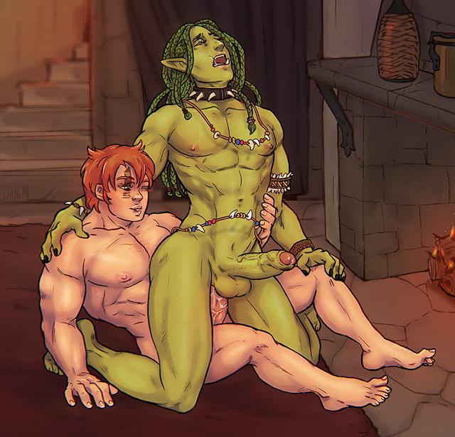 dwarf fucks an orc fantasy gay porn art anal reverse cowgirl