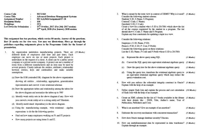 MCS-043 Solved Assignment For IGNOU MCA 2018