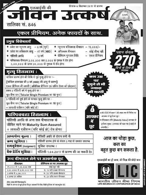 LIC JEEVAN UTKARSH SINGLE PREMIUM PLAN No. 846 Chart  in Hindi