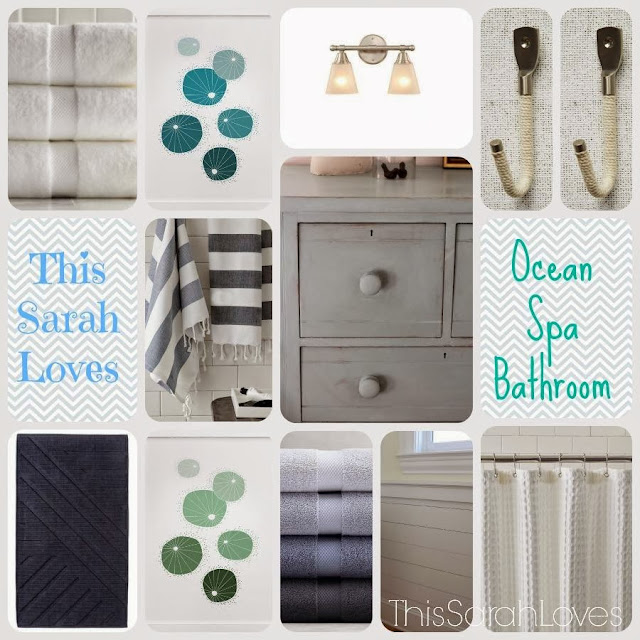 Ocean spa bathroom mood board