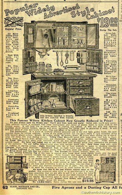Sears catalog page showing Hoosier style cabinet