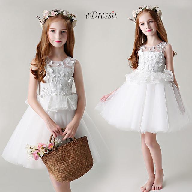 Princess White Sleeveless Wedding Flower Girl Dress