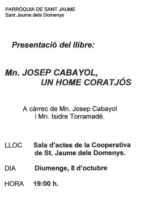 Esguard de Dona - Presentació del Llibre Mn. Josep Cabayol, un home coratjós