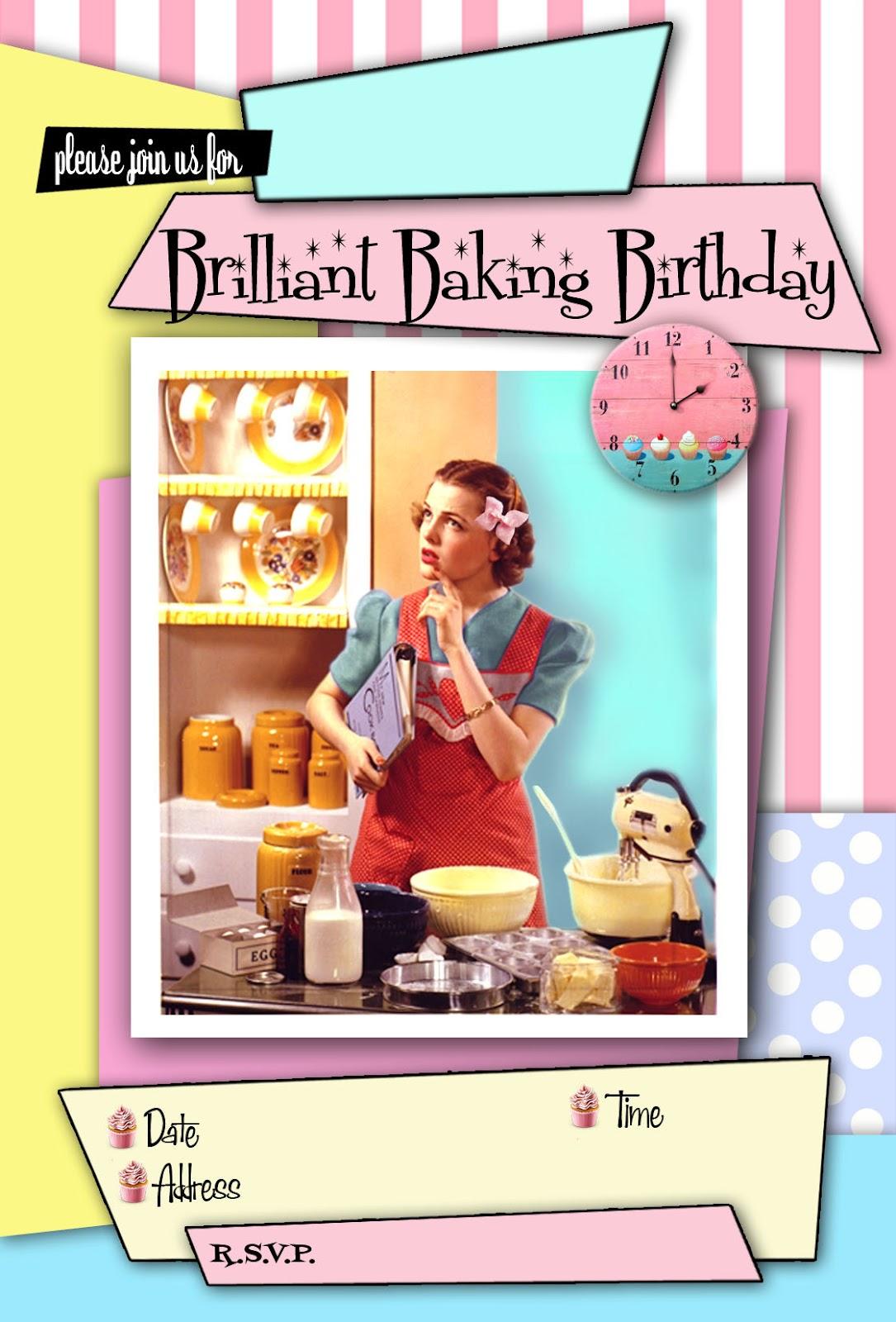 FREE Kids Party Invitations Baking Invitation 50s Style