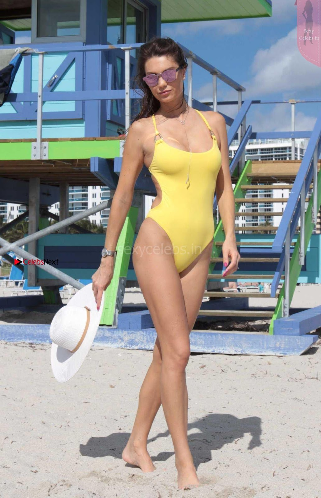 Julia Pereira nStunning Bikini Candids in yellow Swimsuit hot babe Julia Pereira