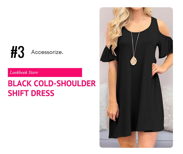 Black Half Sleeves Cold-Shoulder Shift Dress by Lookbook Store