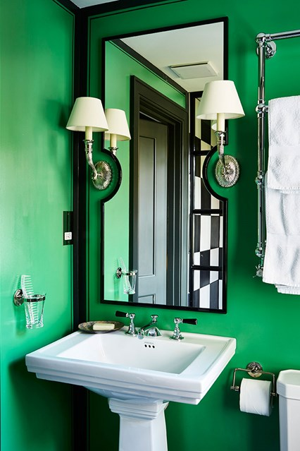 Go bold with color in the bathroom- design addict mom