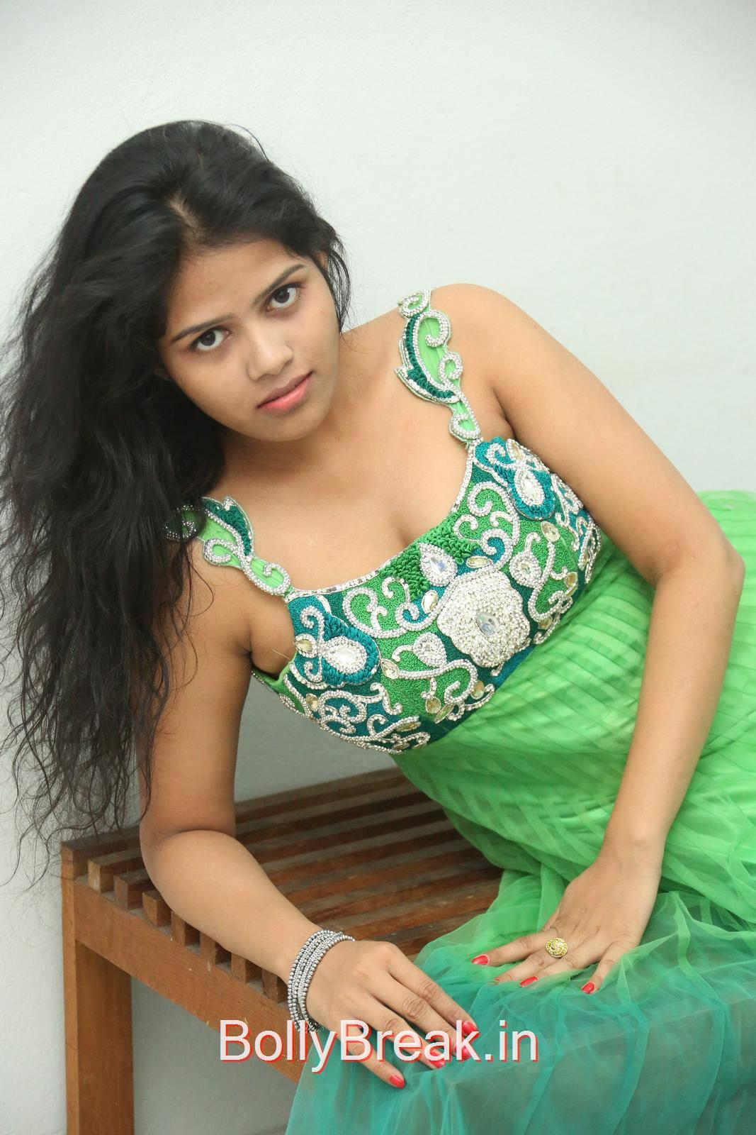 Lucky Photos, Lucky Hot Pics In Green Dress from Calling Bell Movie Audio Release Event