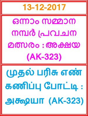 Kerala lottery First Prize Guessing competition AKSHAYA AK-323