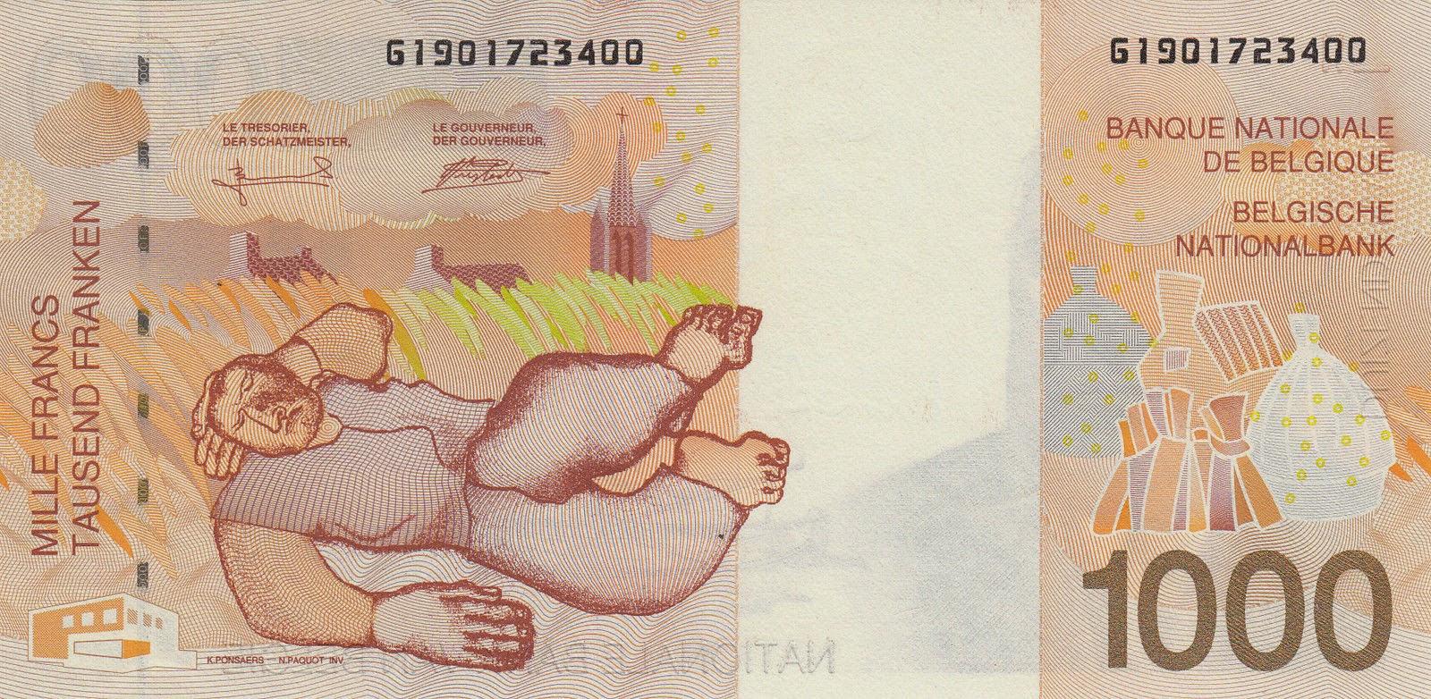 "Belgium Money Currency 1000 Belgian Francs banknote 1998 ""Lying farmer"" (Liggende Boer) by Constant Permeke"