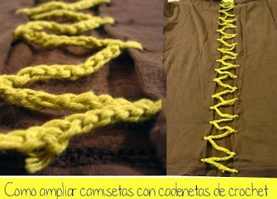 Agrandar una Camiseta con tira de Crochet