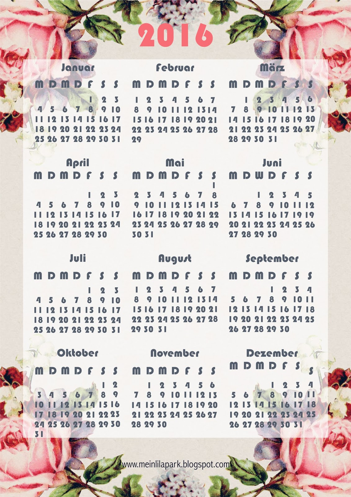 free printable 2016 rose calendar ausdruckbarer kalender 2016 freebie meinlilapark. Black Bedroom Furniture Sets. Home Design Ideas