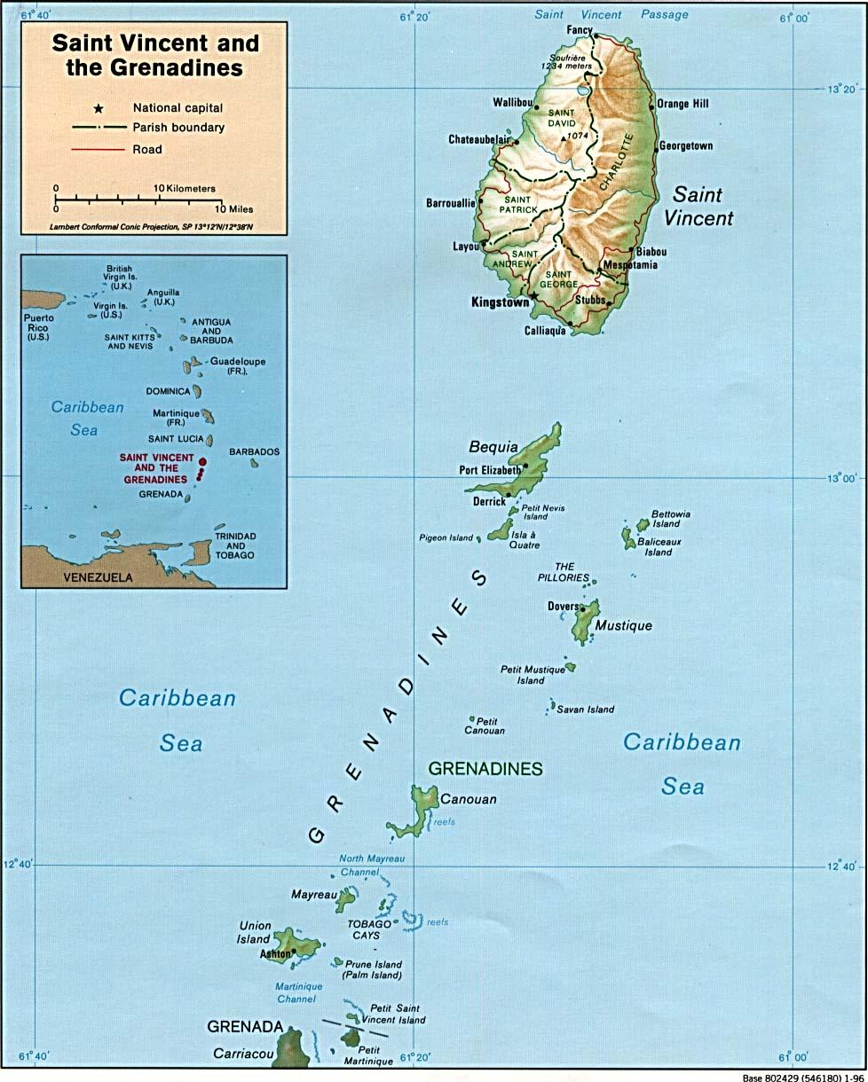 São Vicente e Granadinas | Mapas Geográficos de São Vicente e Granadinas