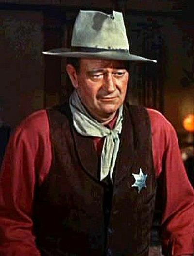 Portrait of John Wayne as character in 1950's movie Rio Bravo