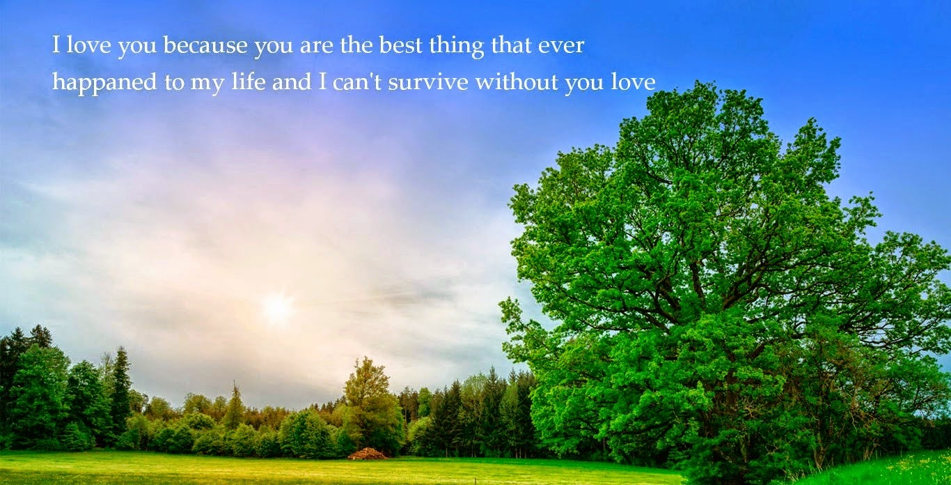I love you because you are the best thing that ever happaned to my life and I can't survive without you love