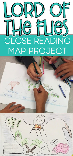 Lord of the Flies map project with close reading and analysis.