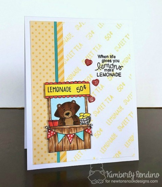Lemonade Stand Card by Kimberly Rendino | Freshly Squeezed Stamp set by Newton's Nook Designs #newtonsnook