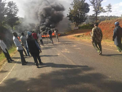 Meru youths protest the president visit. PHOTO | Courtesy
