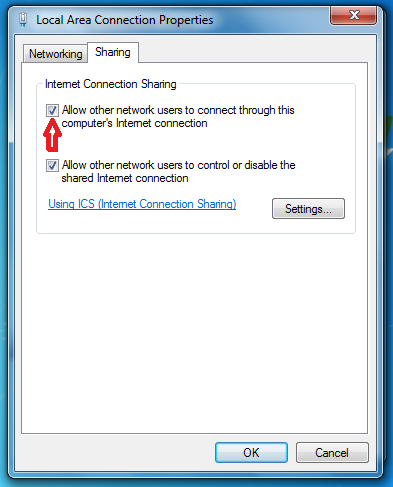 how to make a shared internet connection
