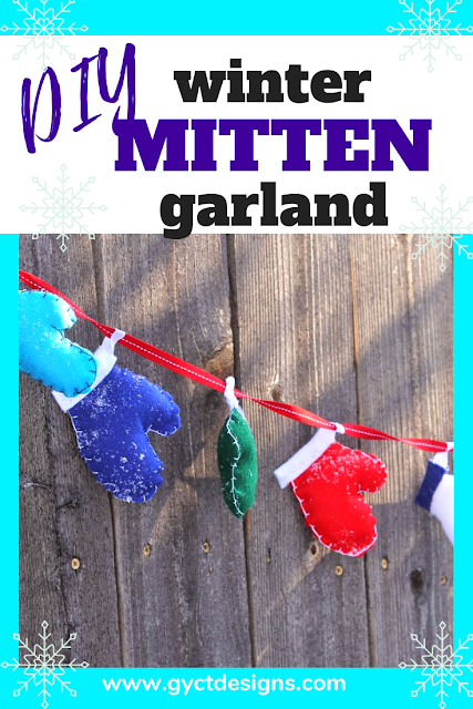 Create your own winter decorations with winter mitten garland.  Make it a keepsake by tracing a child's hand each year to see how they grow.
