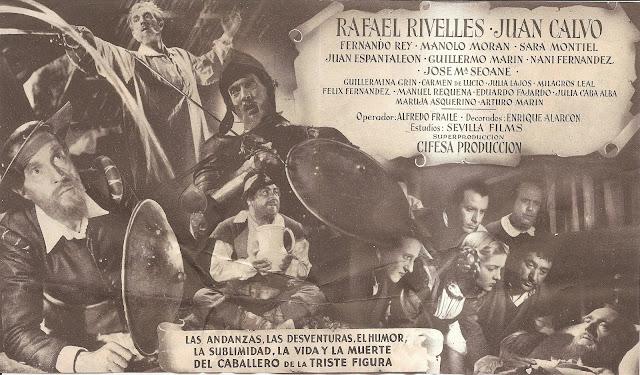 Don Quijote de la Mancha - Folleto de cine - Rafael Rivelles - Juan Calvo - Sara Montiel