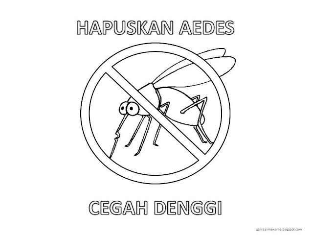Gambar Mewarna Poster Kempen Denggi