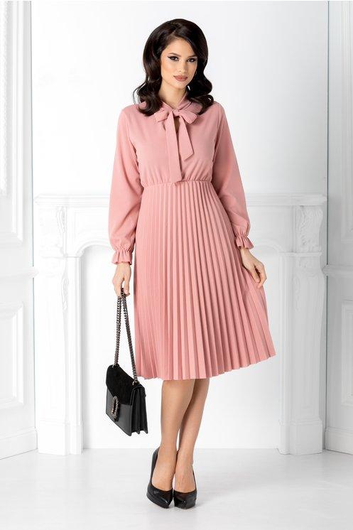 Rochie de si birou roz midi plisata cu funda la guler