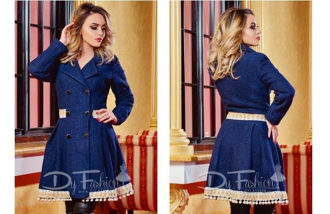 Palton de iarna elegant bleumarin online pret mic