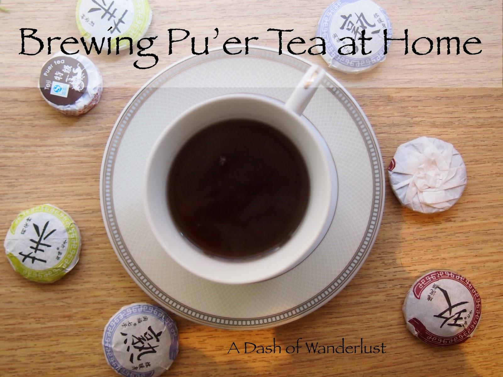 Brewed Pu'er Tea and bricks of tea