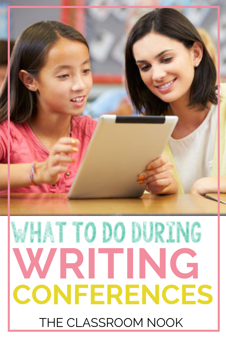 Struggling with how to conduct your student writing conferences to help students grow as writers?  Check out this blog post (with VIDEO TUTORIAL)  with tips on what every writing conference should include! Perfect for third grade, fourth grade, and fifth grade!  #teachingwriting #teaching #elementary #classroom #teaching #writingconferences #thirdgrade #fourthgrade #fifthgrade