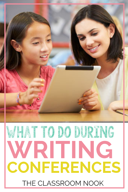 Struggling with how to conduct your student writing conferences to help students grow as writers?  Check out this blog post (with VIDEO TUTORIAL)  with tips on what every writing conference should include! Perfect for third grade, fourth grade, and fifth grade!  #teachingwriting #teaching #elementary #classroom #writingconferences #thirdgrade #fourthgrade #fifthgrade