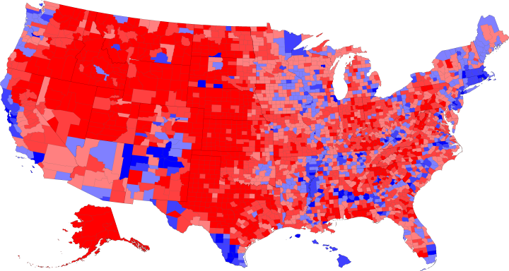 United States General ElectionDonald J Trump Vs Hillary R - Us election map by county 2016