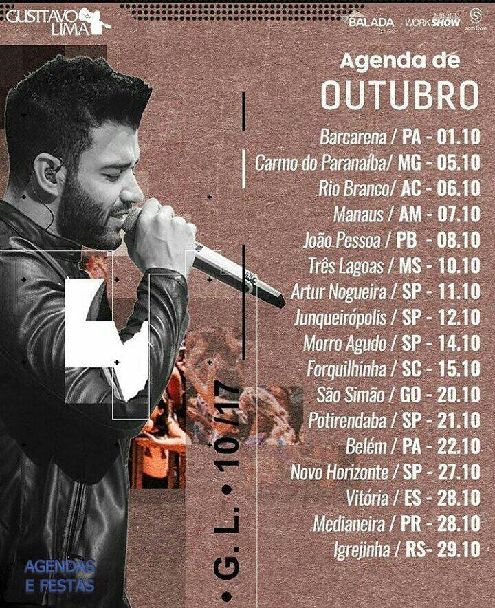 Agenda De Shows De Outubro Gusttavo Lima 2017 Agendas E Festas Clube