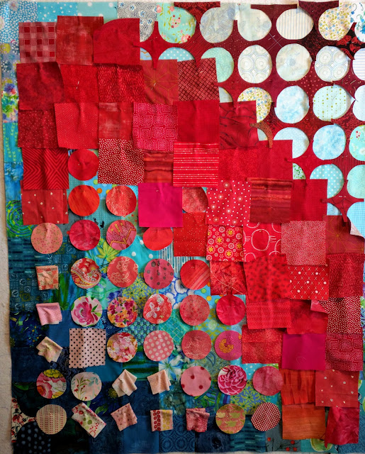 Pink and red fabric hugs and kisses on Circular Anomaly quilts. Double Vision quilts