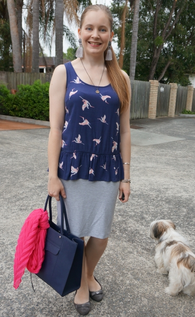 Kmart navy bird print peplum frill hem tank, grey jersey pencil skirt, hot pink scarf accessory | away from blue
