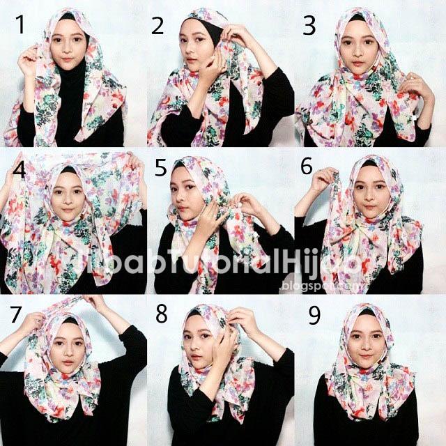 tutorial hijab segi empat terbaru dan simple 2016