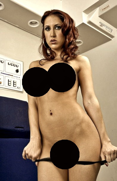 Completamente Desnuda En Un Avión Desde La República Dominicana