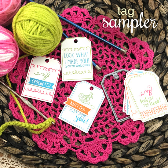 Knit and Crochet Tags by Jennifer Jackson   Tag Sampler stamp set by Newton's Nook Designs #newtonsnook