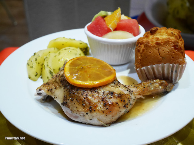 Fruity Favourite Meal (Kenny's Fruity ¼ Chicken + Garlic Parsley Potato + 1 side dish + 1 Vanilla Roselle Muffin)