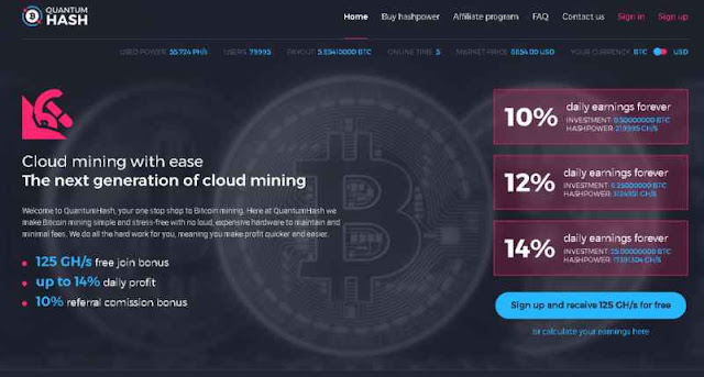 Quantumhash.net Review - New Bitcoin Investment Site Get 10% Daily Earnings Forever