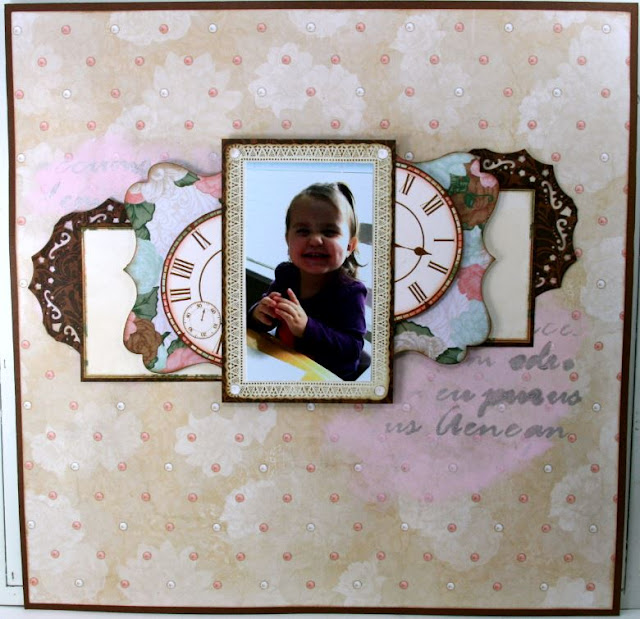 Sweet Liddy Scrapbook Layout by Ginny Nemchak using BoBunny Felicity Collection