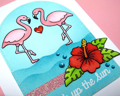 Sunny Studio: Flamingo & Hibiscus Flower card (using Tropical Paradise stamps & Wavy Borders dies)