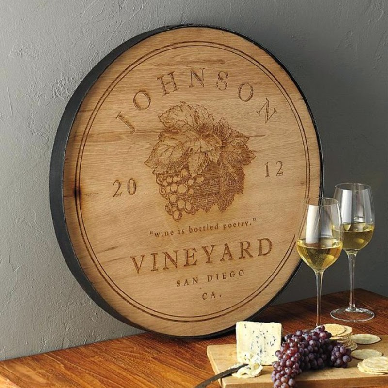 Wine Barrel Wood Cutting Board